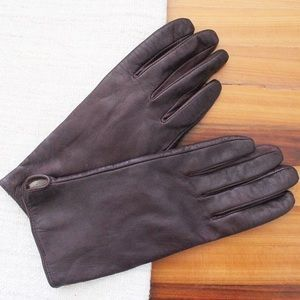 H&M Real Leather Purple Brown Gloves Knitted